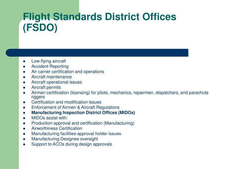 Flight Standards District Offices (FSDO)