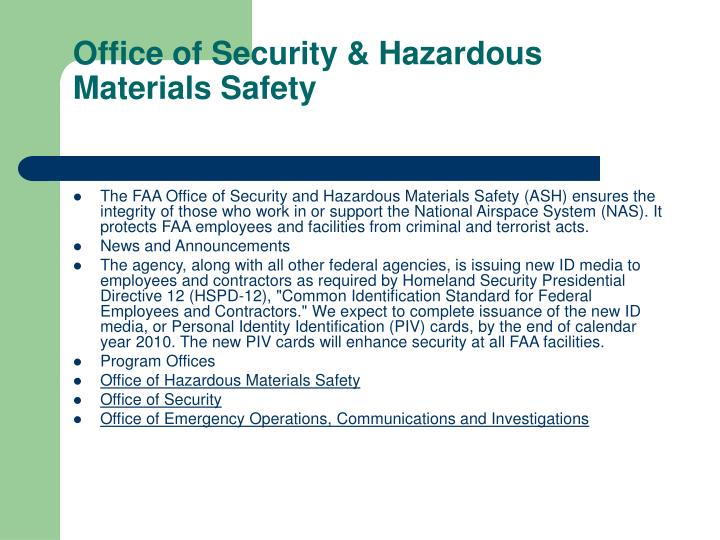 Office of Security & Hazardous Materials Safety