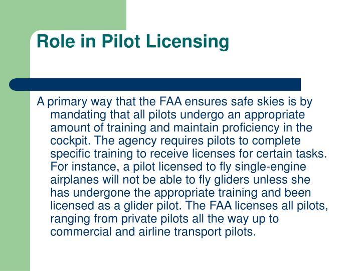 Role in Pilot Licensing