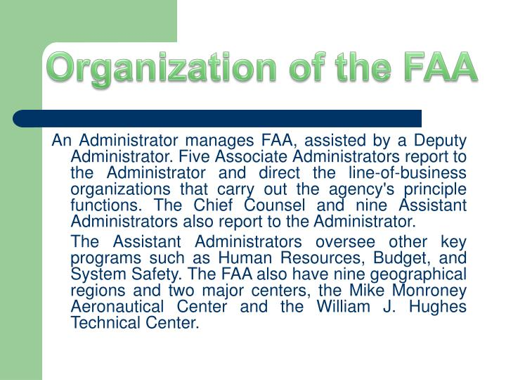 Organization of the FAA
