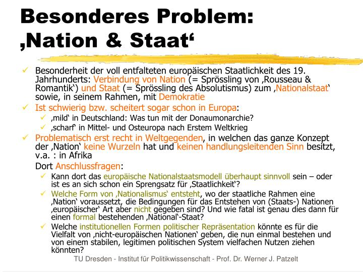 Besonderes Problem: