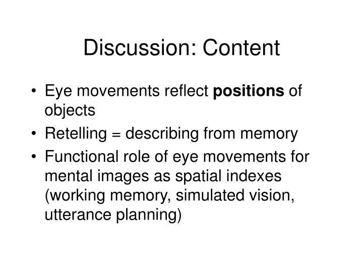 Discussion: Content