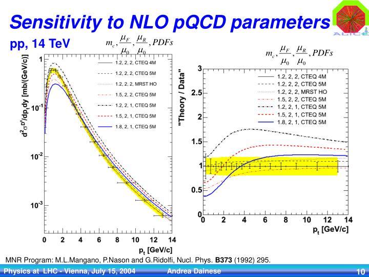 Sensitivity to NLO pQCD parameters