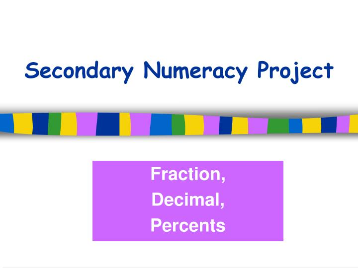 Secondary numeracy project