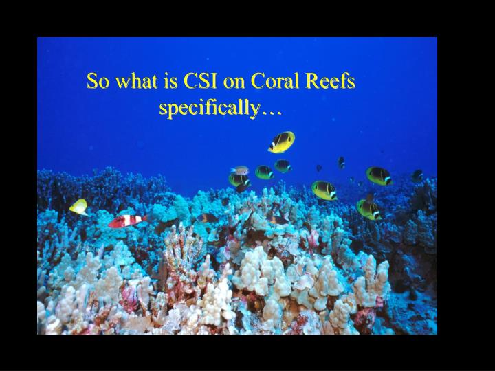 So what is CSI on Coral Reefs specifically…