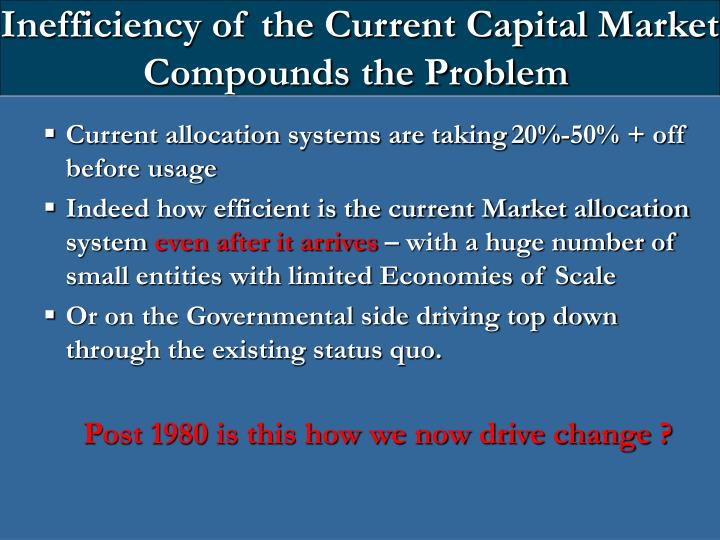 Inefficiency of the Current Capital Market