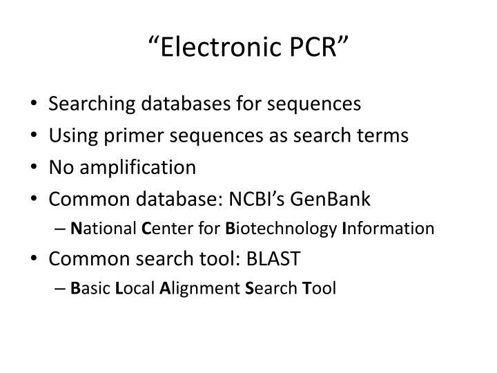 """Electronic PCR"""