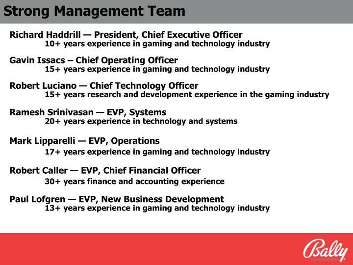 Strong Management Team