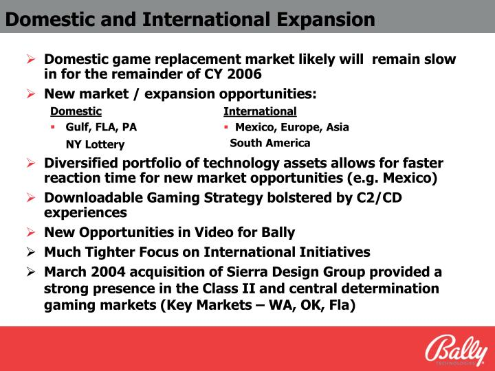 Domestic and International Expansion