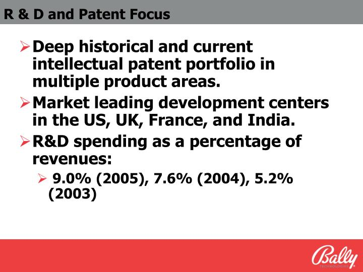 R & D and Patent Focus