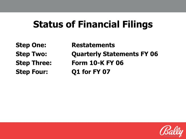 Status of Financial Filings