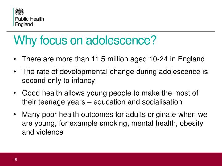Why focus on adolescence?