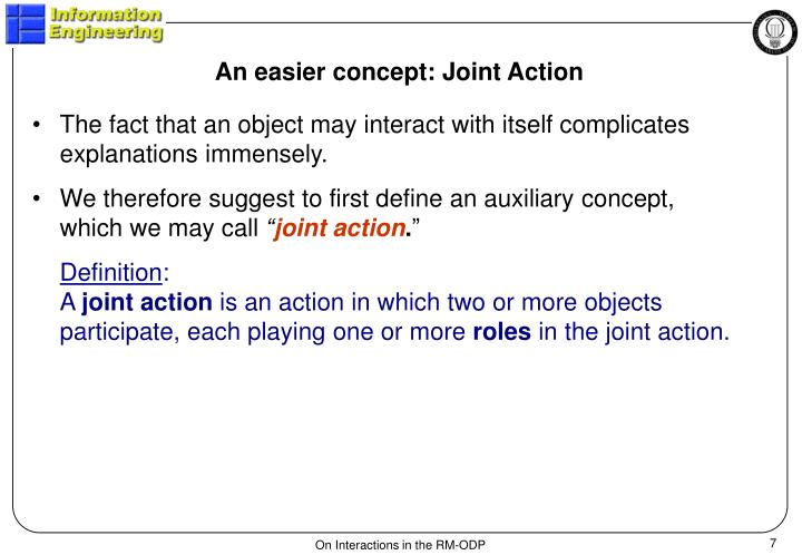 An easier concept: Joint Action