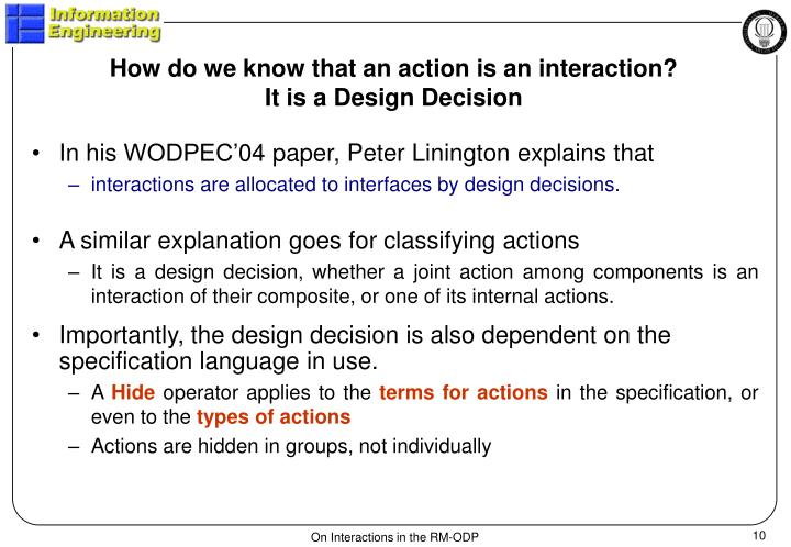 How do we know that an action is an interaction?