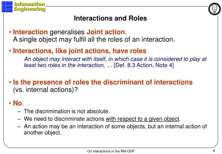 Interactions and Roles