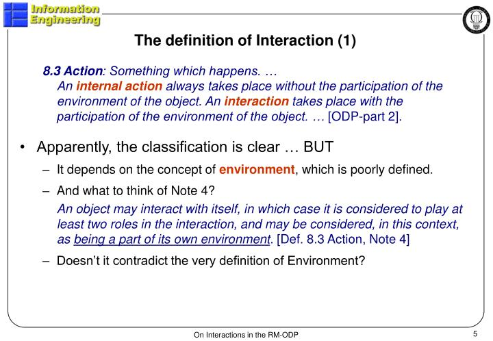 The definition of Interaction (1)