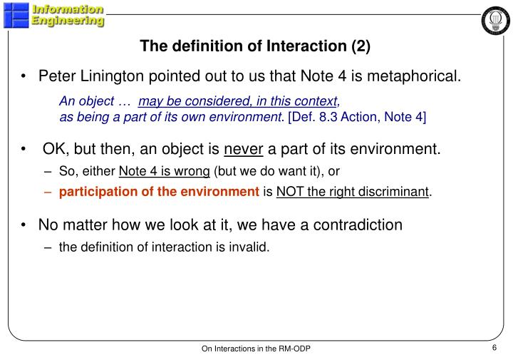 The definition of Interaction (2)