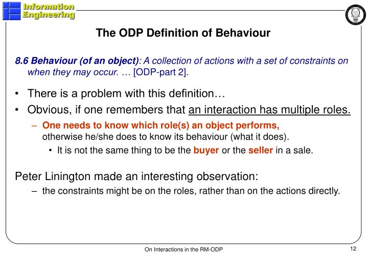 The ODP Definition of Behaviour