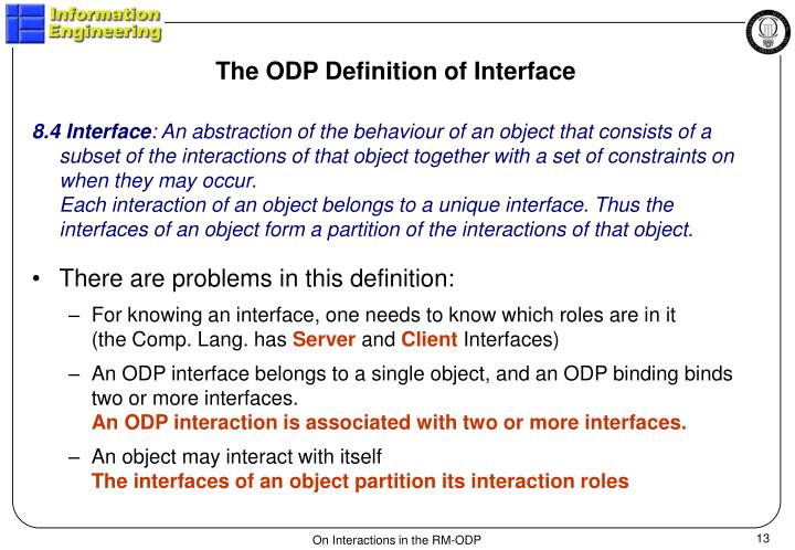 The ODP Definition of Interface