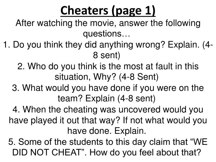 Cheaters page 1