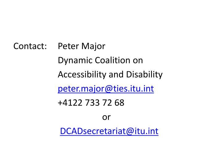 Contact:  Peter Major