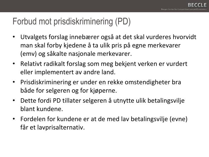 Forbud mot prisdiskriminering (PD)