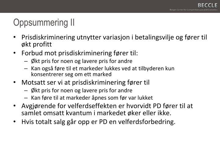 Oppsummering II