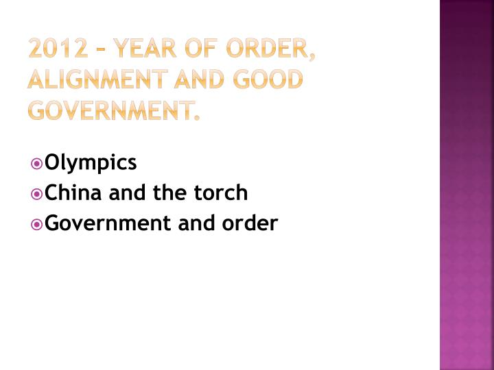 2012 – YEAR of ORDER, alignment and good government.