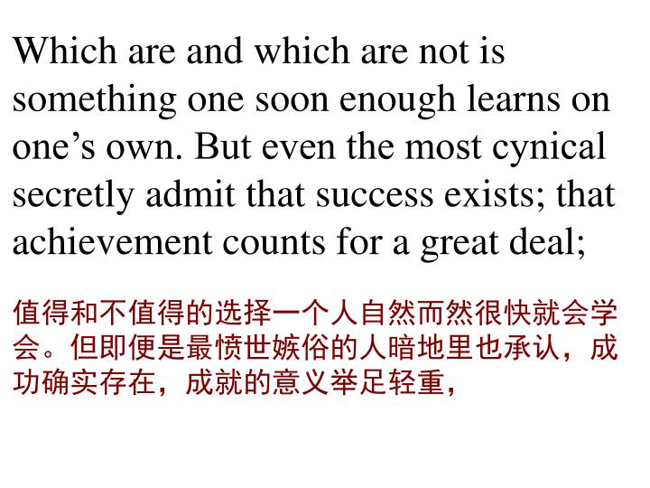 Which are and which are not is something one soon enough learns on one's own. But even the most cynical secretly admit that success exists; that achievement counts for a great deal;