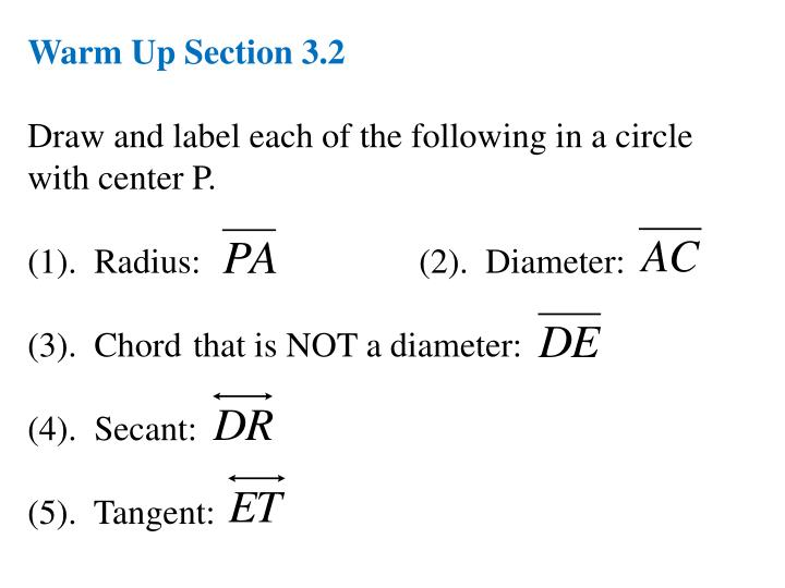 Warm Up Section 3.2