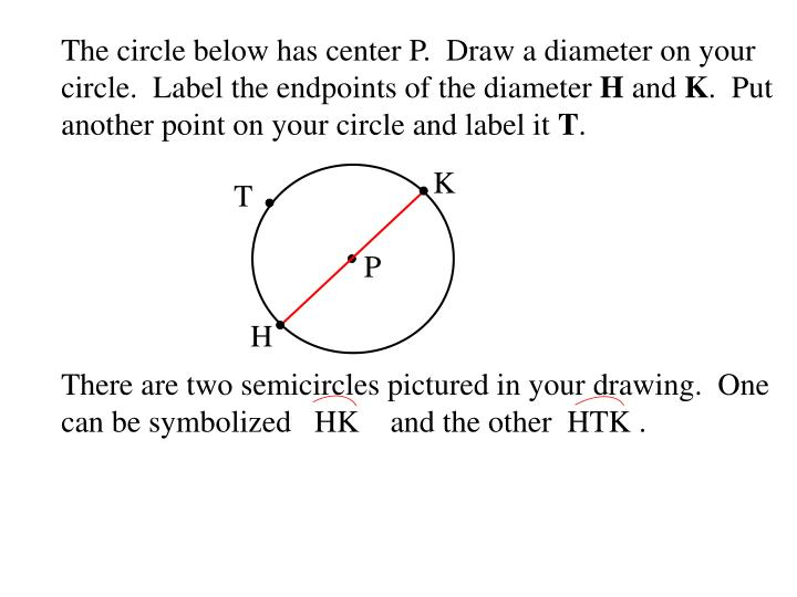 The circle below has center P.  Draw a diameter on your circle.  Label the endpoints of the diameter