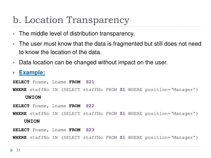 b. Location Transparency