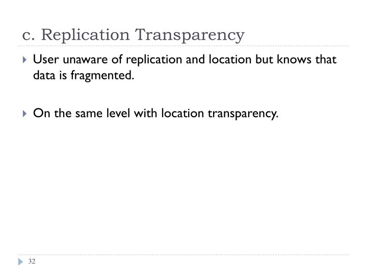 c. Replication Transparency