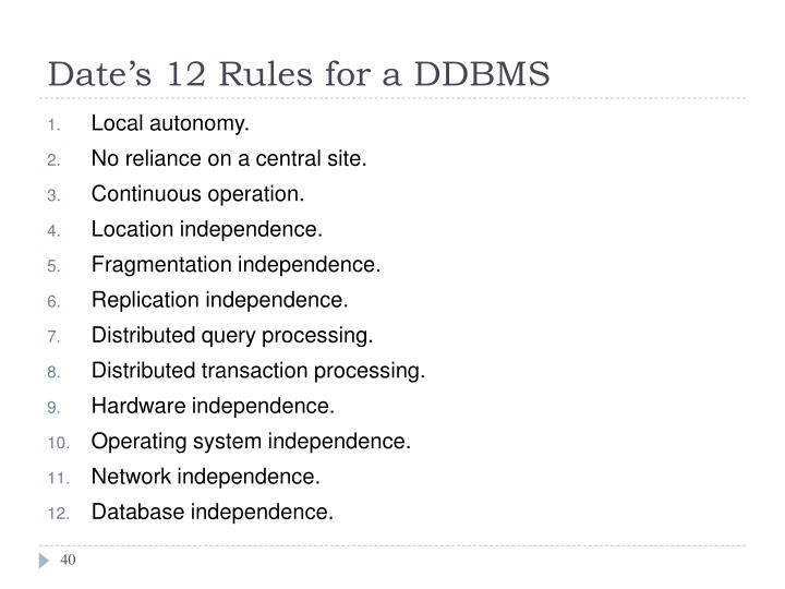 Date's 12 Rules for a DDBMS