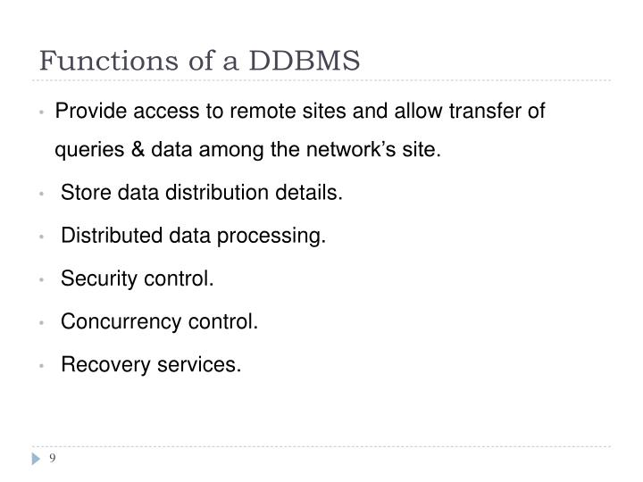 Functions of a DDBMS