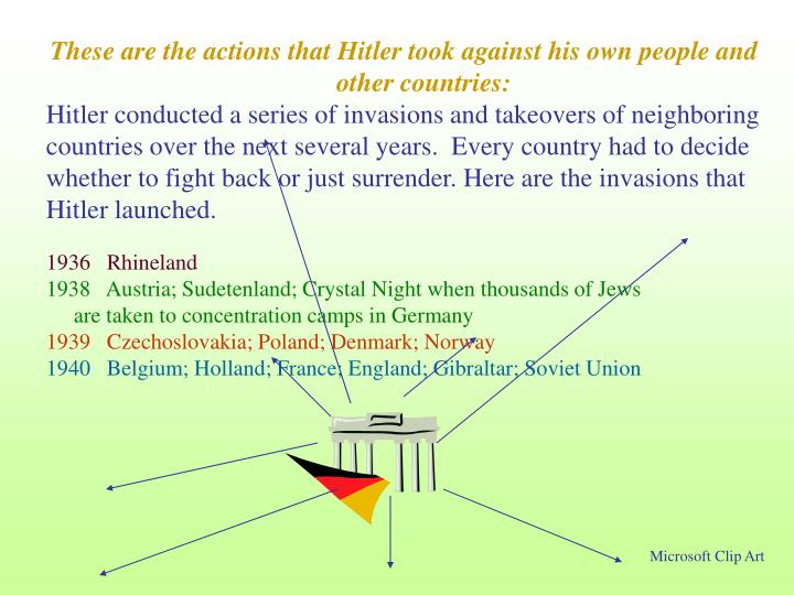 These are the actions that Hitler took against his own people and other countries: