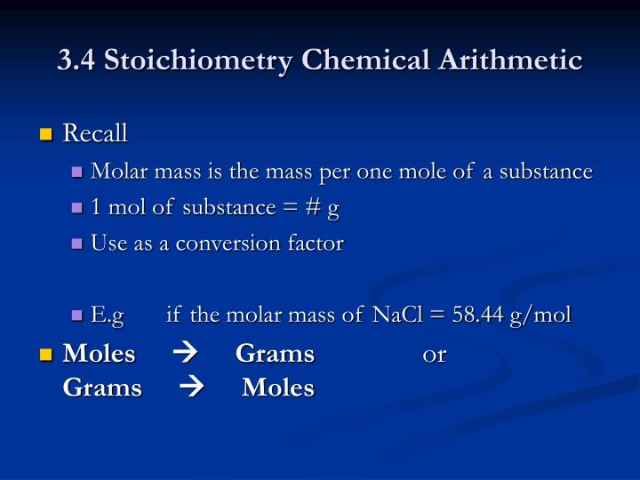 3.4 Stoichiometry Chemical Arithmetic