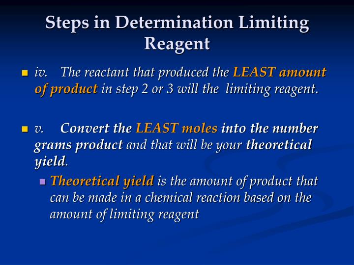 Steps in Determination Limiting Reagent