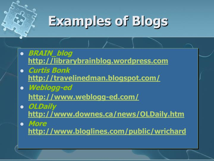 Examples of Blogs