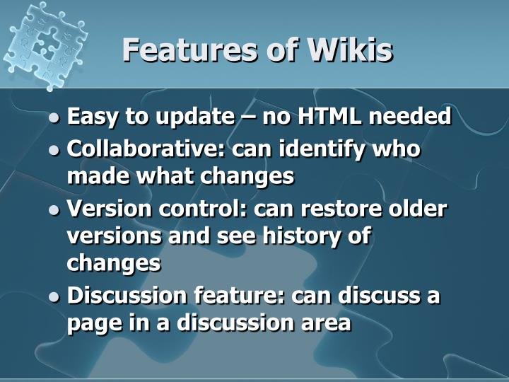 Features of Wikis
