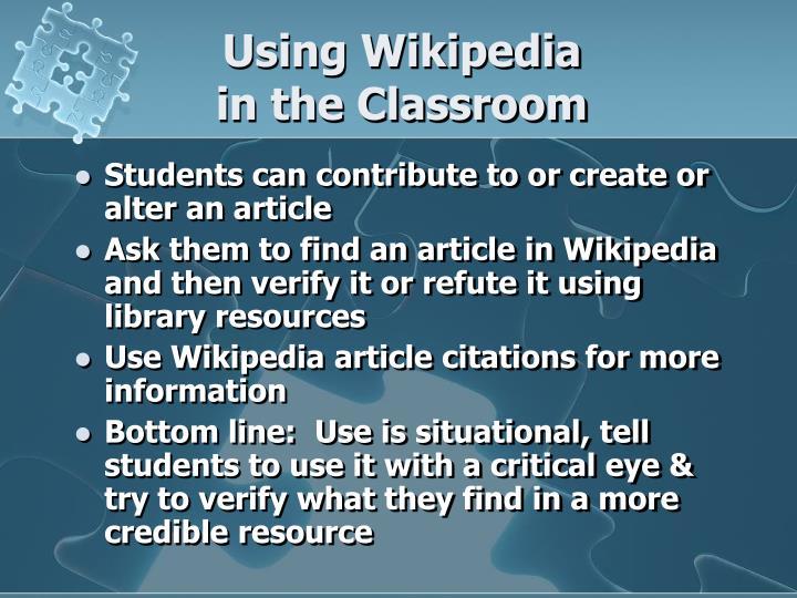 Using Wikipedia
