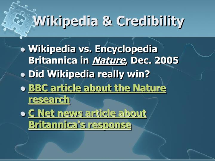 Wikipedia & Credibility
