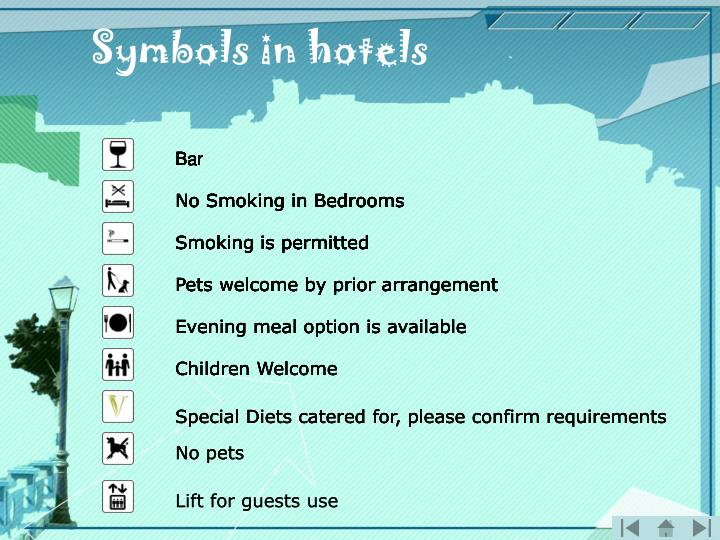 Symbols in hotels