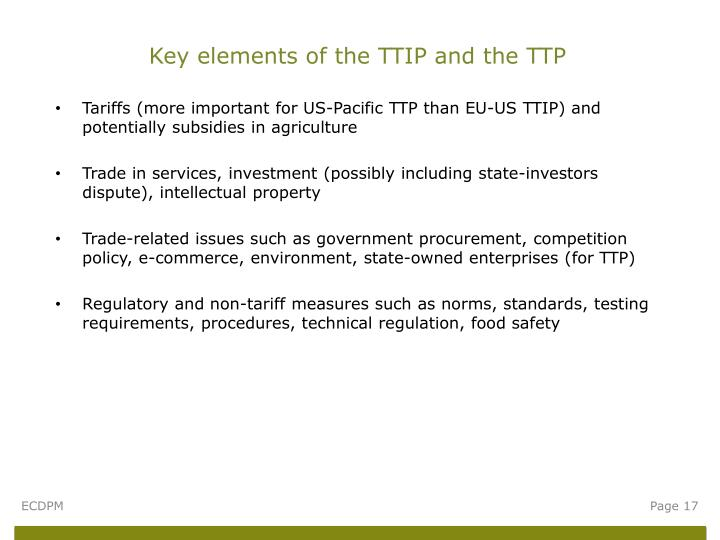 Key elements of the TTIP and the TTP