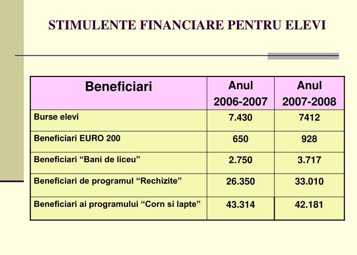 STIMULENTE FINANCIARE PENTRU ELEVI