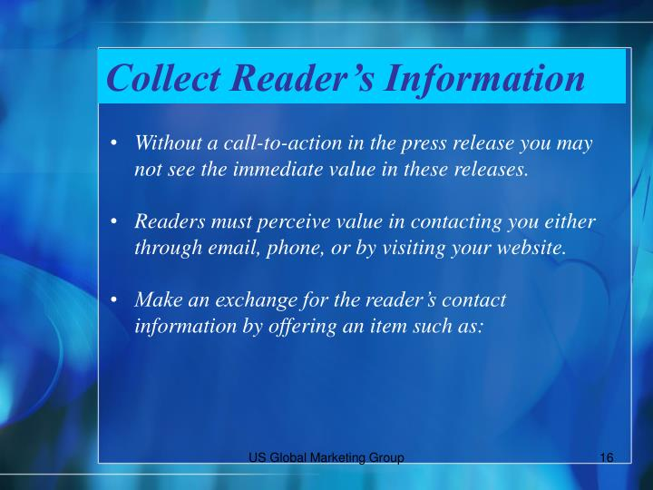 Collect Reader's Information