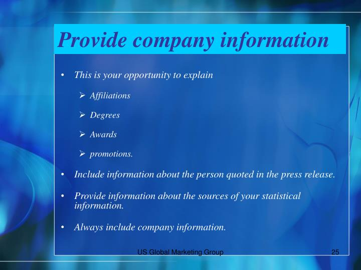 Provide company information