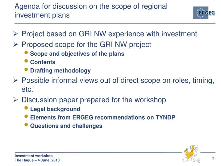 Agenda for discussion on the scope of regional investment plans
