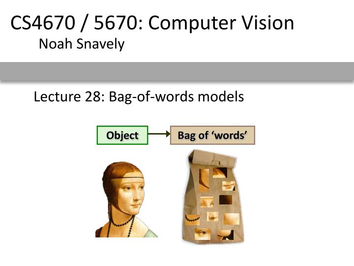 lecture 28 bag of words models