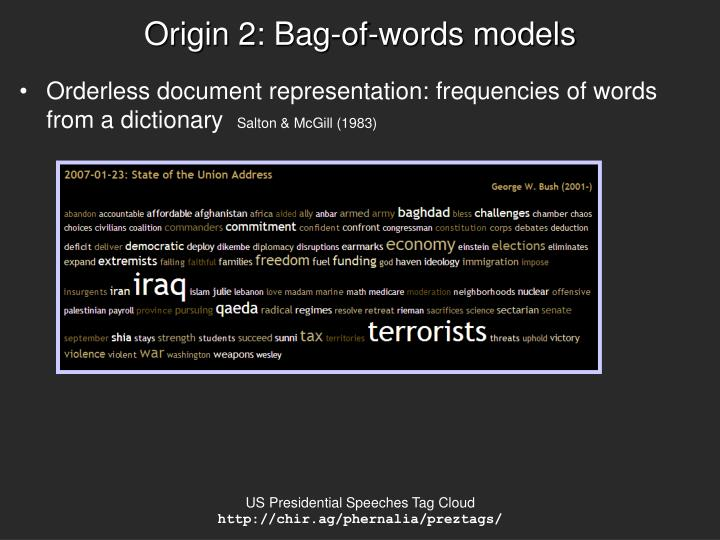 Origin 2: Bag-of-words models